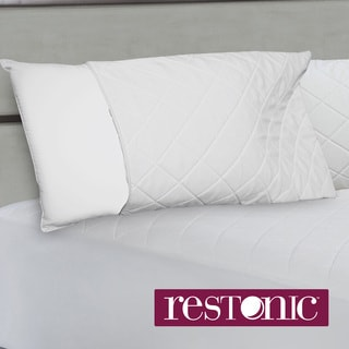 Restonic Quilted Memory Foam Zippered Bed Pillow Enhancer (Set of 2)