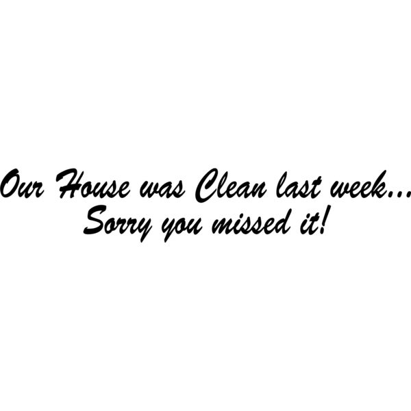 Design on Style Our House was Clean Last Week...Sorry You Missed It Vinyl Art Quote