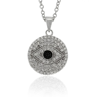 Dolce Giavonna Sterling Silver Black and White CZ Evil Eye Necklace