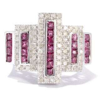 Eugenio Designs Silver Rhodolite and 1/2ct TDW Diamond Ring (H-I, I1-I2)