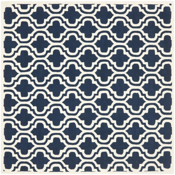 Safavieh Handmade Moroccan Chatham Dark Blue/ Ivory Wool Rug (4' Square)