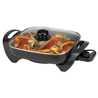 12-inch Black Electric Skillet with Lid