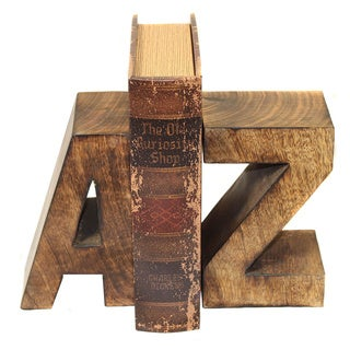 Casa Cortes Artisan Hand-carved Capital A-Z Wood Bookends