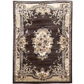 Sculpture Chocolate Oriental Design Area Rug (5' x 7')