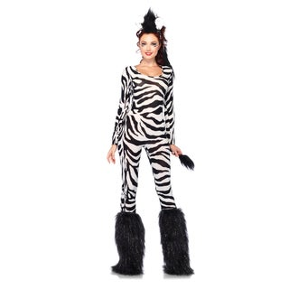 Leg Avenue Women's 2-piece Wild Zebra Catsuit Costume