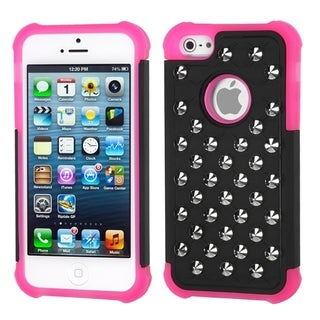 INSTEN Black/ Hot Pink TotalDefense Phone Case Cover for Apple iPhone 5