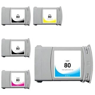 INSTEN HP 80 5-ink Cartridge Set (Remanufactured)