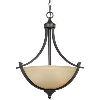 3-light English Bronze Transitional Pendant Light