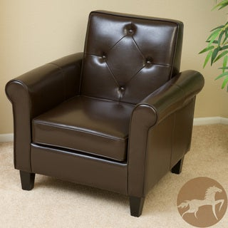 Christopher Knight Home Huntley Tufted Brown Leather Club Chair