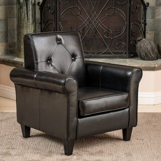 Christopher Knight Home Isaac Tufted Black Leather Club Chair
