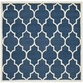 Safavieh Handmade Moroccan Cambridge Navy/ Ivory Wool Rug (4' Square)