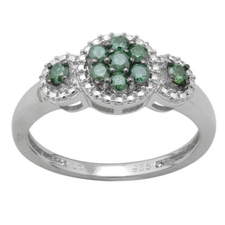 Sterling Silver 1/3ct TDW Green Diamond Ring