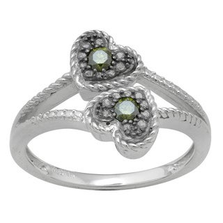 Sterling Silver 1/6ct TDW Green Diamond Heart Ring