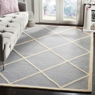 Safavieh Handmade Moroccan Cambridge Silver/ Ivory Wool Rug with 0.5-Inch Pile (9' x 12')