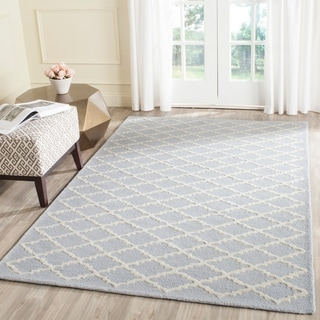 Contemporary Safavieh Handmade Moroccan Cambridge Light Blue/ Ivory Wool Rug (9' x 12')