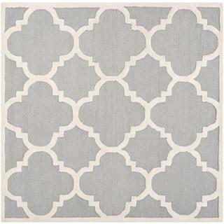 Safavieh Handmade Moroccan Cambridge Silver/ Ivory Wool Rug (10' Square)