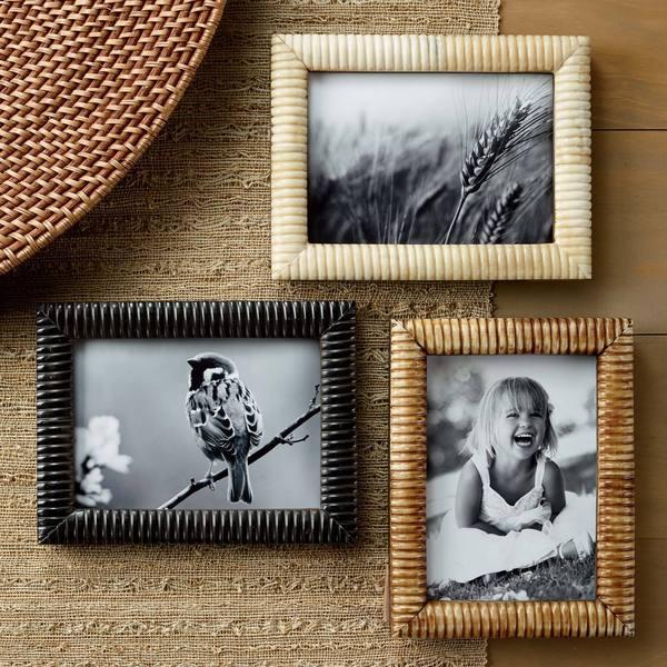 Hand Carved Bone 5 x 7-inch Ribbed Frames Set (Set of 3) 11755697