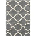 Safavieh Handmade Moroccan Chatham Collection Dark Grey/ Ivory Wool Rug (2'3 x 5')