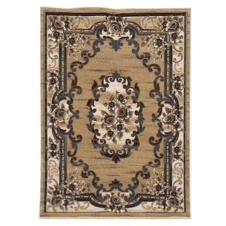 Sculpture Champagne Oriental Design Area Rug (5' x 7')