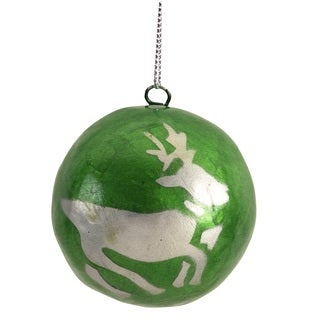 Handcrafted Capiz Shell Green with Silver Reindeer Ornament - Set of 2 (Philippines)