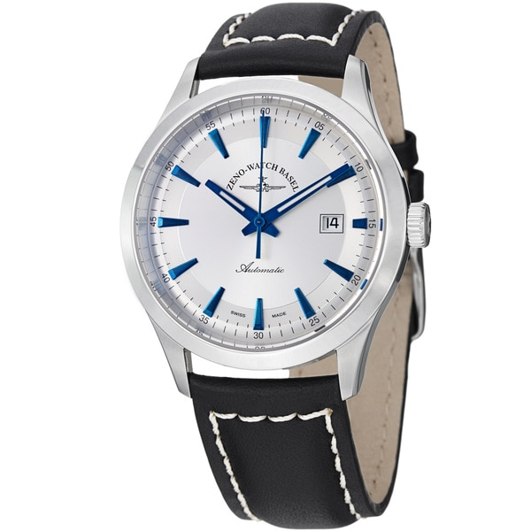 Zeno Men's 'Gentlemen' Silver Dial Black Leather Strap Automatic Watch