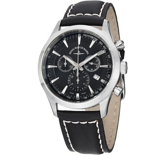 Zeno Men's 6662-5030Q-G1 'Gentlemen' Black Dial Black Leather Strap Chrono Watch