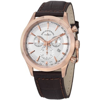 Zeno Men's 6662-5030Q-PGR-F2 'Gentlemen' Silver Dial Brown Leather Strap Chrono Watch