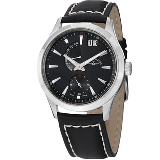 Zeno Men's 6662-7004-G1 'Gentlemen' Black Dial Big Date Leather Strap Quartz Watch
