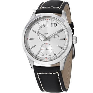 Zeno Men's 6662-7004-G2 'Gentlemen' Silver Dial Big Date Leather Strap Quartz Watch