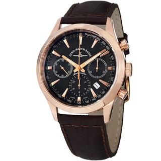 Zeno Men's 6662-7753-PGR-F1 'Vintage Line' Black Dial Brown Leather Strap Chrono Watch