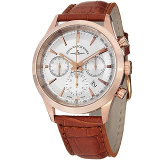 Zeno Men's 6662-7753-PGR-F2 'Vintage Line' Silver Dial Brown Leather Strap Chrono Watch