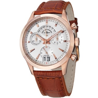 Zeno Men's 'Gentlemen' Chrono Big Date Light Brown Strap Watch