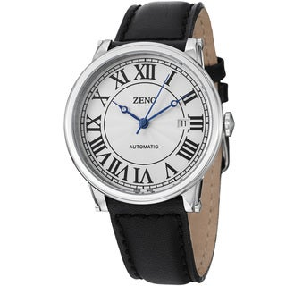 Zeno Men's 'Roman Art Deco' Silver Dial Black Strap Automatic Watch