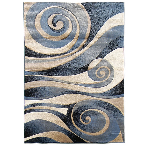 Blue And Cream Area Rug Sculpture 258 Abstract Swirl Blue Area Rug (5' x 7 ...