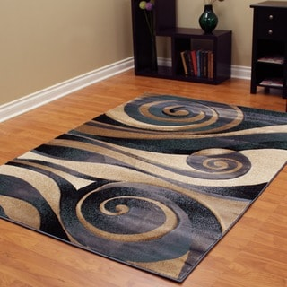 Sculpture 258 Abstract Swirl Blue Area Rug (5' x 7')