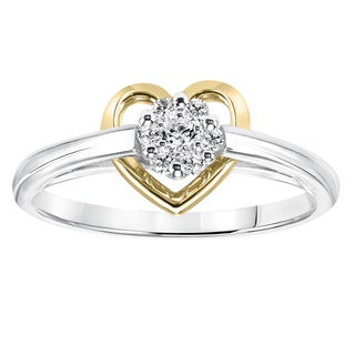 Cambridge Silver with 14k Gold Heart 1/8ct TDW Diamond Ring