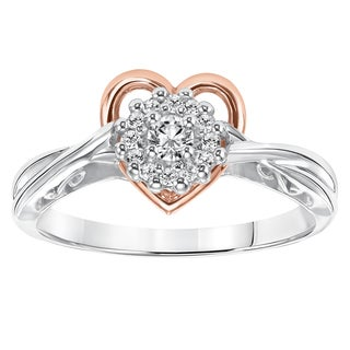 Cambridge 14k Rose Gold and Silver 1/5ct TDW Diamond Heart Ring