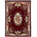 Sculpture Red Oriental Design Area Rug (5' x 7')
