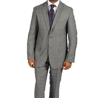 Ferrecci Men's 'Zonettie' 2-piece Checkered Grey Suit
