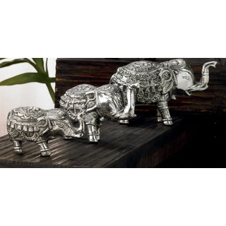 Handmade Cast Aluminum Elephant Figurines Set (Set of 3)