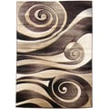 Sculpture Abstract Chocolate Swirl Design Area Rug (5' x 7')