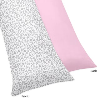 Sweet Jojo Designs Pink and Gray Kenya Full Length Double Zippered Body Pillow Case Cover