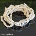 Stretch Beaded Bracelet with Sterling Silver Accent (Indonesia)
