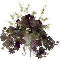 Morning Glory/ Cherry Blossoms and Metal Planter Floral Arrangement