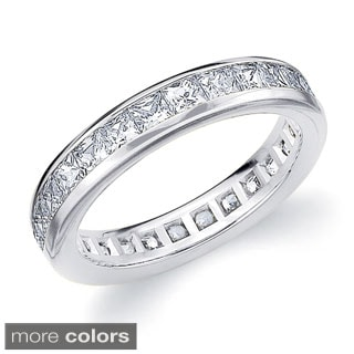 14k Gold 2ct TDW Machine-set Princess Diamond Eternity Band (H-I, SI1-SI2)