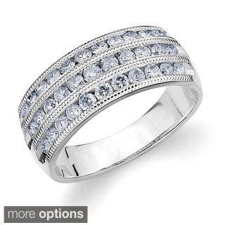 14k Gold 1ct TDW Machine-set Diamond Triple-row Band (H-I, I1-I2)