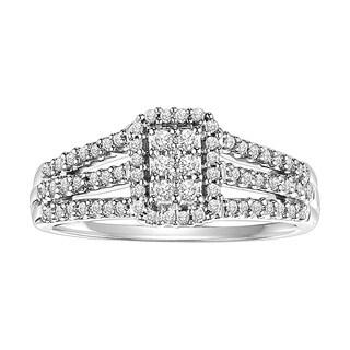 Cambridge Sterling Silver 1/3ct TDW Emerald Three Row Diamond Ring