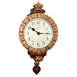 Antique Linseng 24 x 13-inch Brown and Gold Pendulum Wall Clock