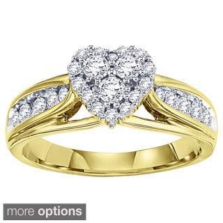 Cambridge 14k White or Yellow Gold 5/8ct TDW Heart Diamond Ring (I-J, I1-I2)