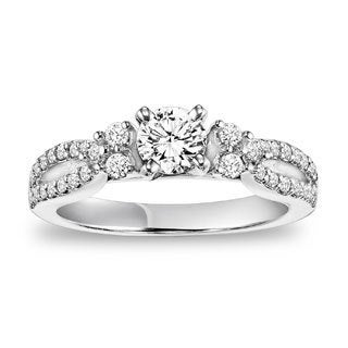 Cambridge 14k White Gold 7/8ct TDW Diamond Twisted Split Shank Ring (I-J, I2-I3)